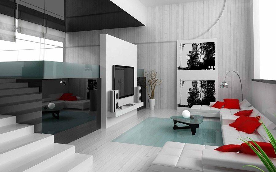Phòng khách đẹp với điểm nhấn màu đỏ