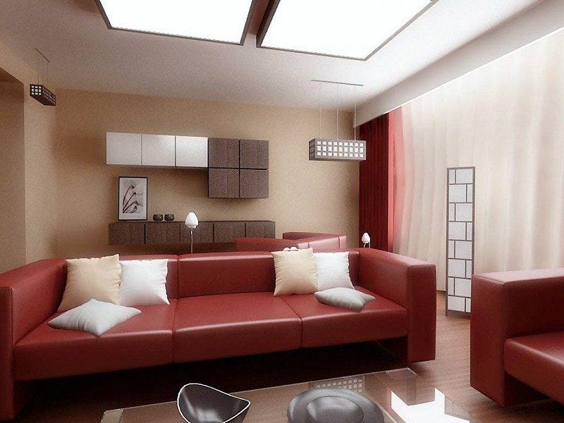 Phòng khách ấn tượng với màu đỏ trắng