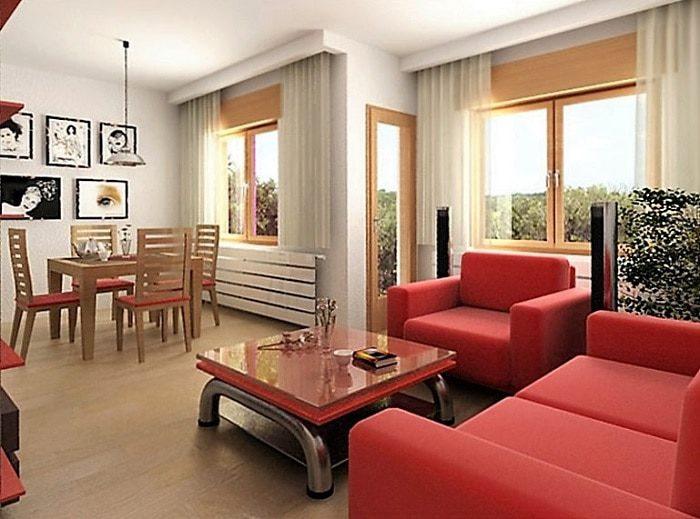 Phòng khách hai màu đỏ trắng