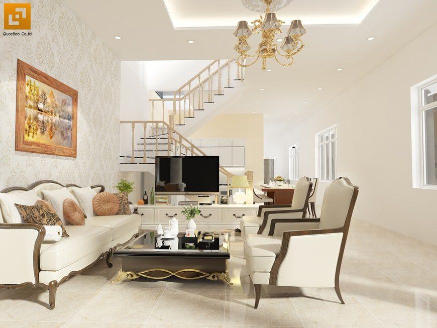 Thiết kế phòng khách sang trọng với nội thất hiện đại nhưng vẫn mang phong cách cổ điển