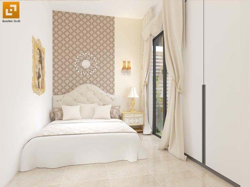 Phòng ngủ được thiết kế cửa kính nhằm đem ánh sáng tự nhiên vào phòng