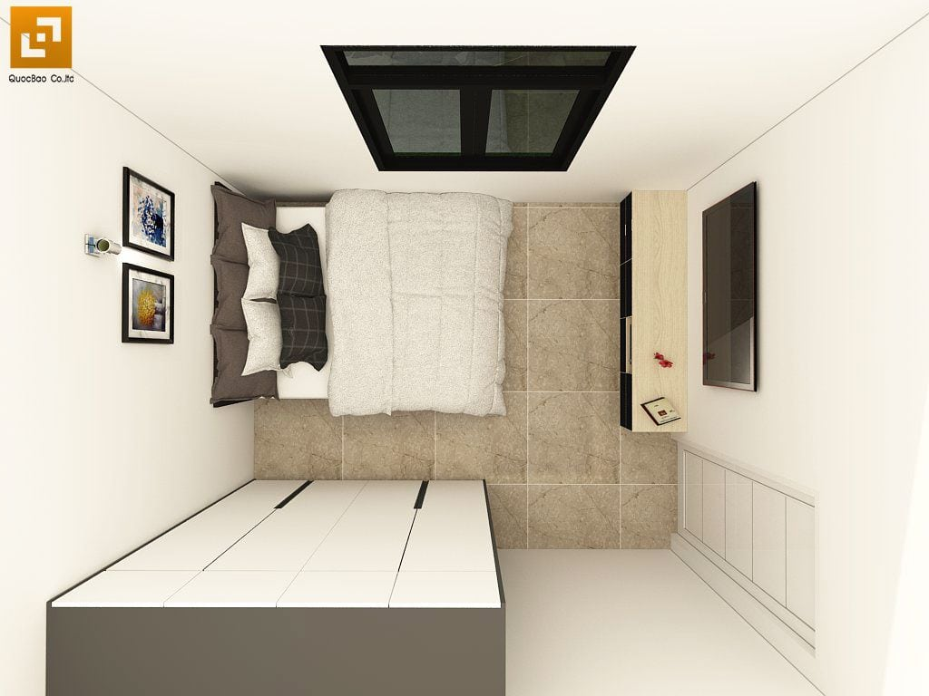 Phòng ngủ diện tích hợp lý, bố trí cửa kính, TV lắp đặt trong phòng