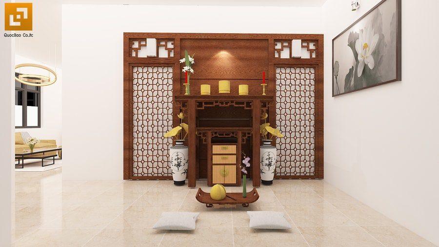 Phòng thờ trang nghiêm hiện đại, nội thất gỗ mỹ nghệ chạm trổ tinh xảo
