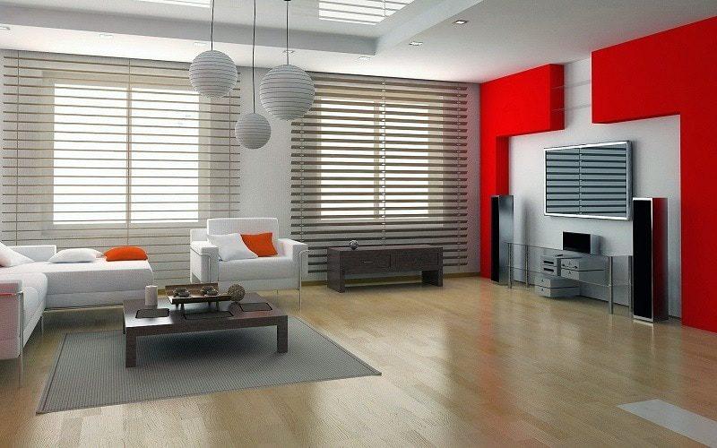 Bài trí phòng khách hai màu đỏ - trắng đẹp