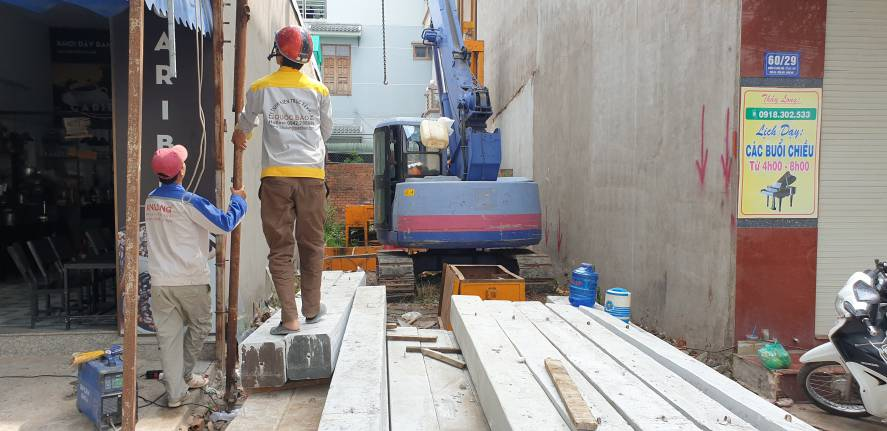 Thi công ép cọc bê tông nhà phố