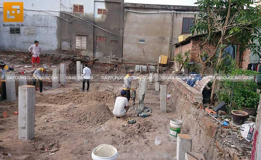 Thi công móng ngôi nhà phố anh Phước tại Biên Hòa - Ảnh 1
