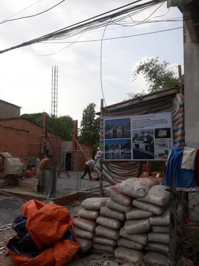 Thi công nhà phố hiện đại bà Ngoại Lộc Lâm - Biên Hòa - Ảnh công trường 1