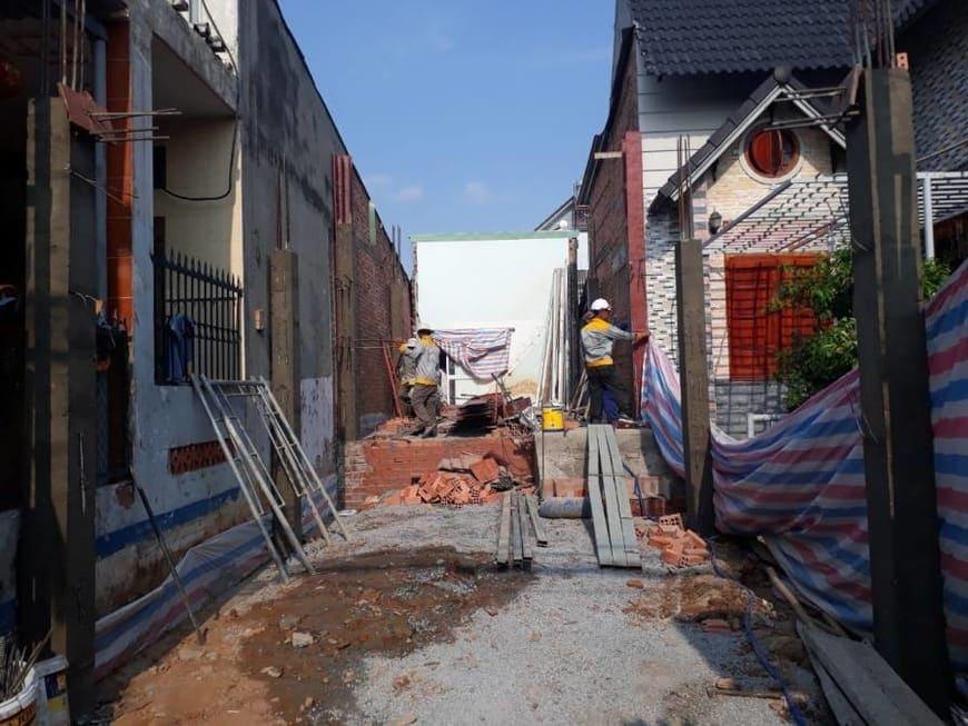 Đổ bê tông cột nhà ống 4 tầng tại Đồng Nai