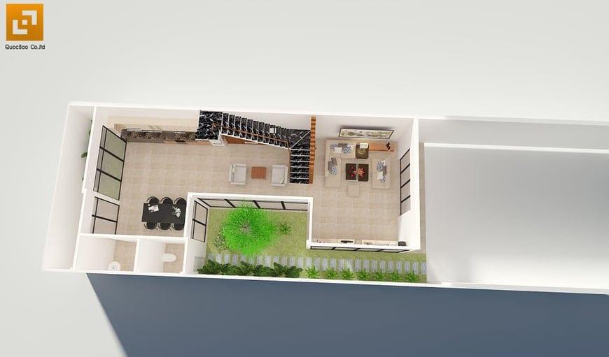 Thiết kế mặt bằng tầng 1 gồm phòng khách, phòng ăn và phòng đọc sách