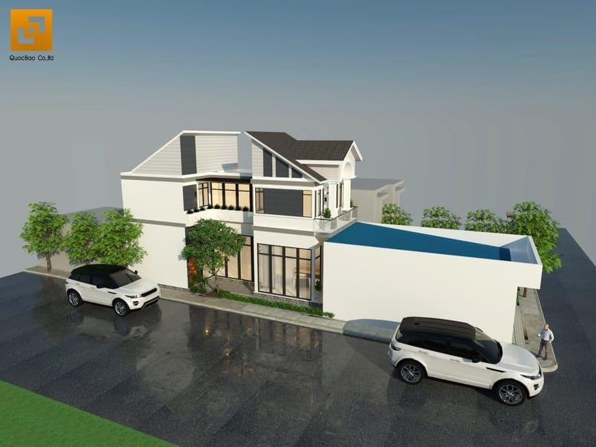 Phối cảnh tổng thể biệt thự nhà vườn gia đình anh Nam tại Trảng Bom - Đồng Nai