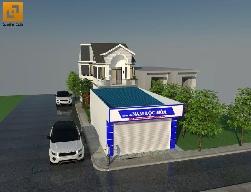 Xưởng sửa chữa ô tô của gia đình anh Nam nằm phía trước ngôi nhà