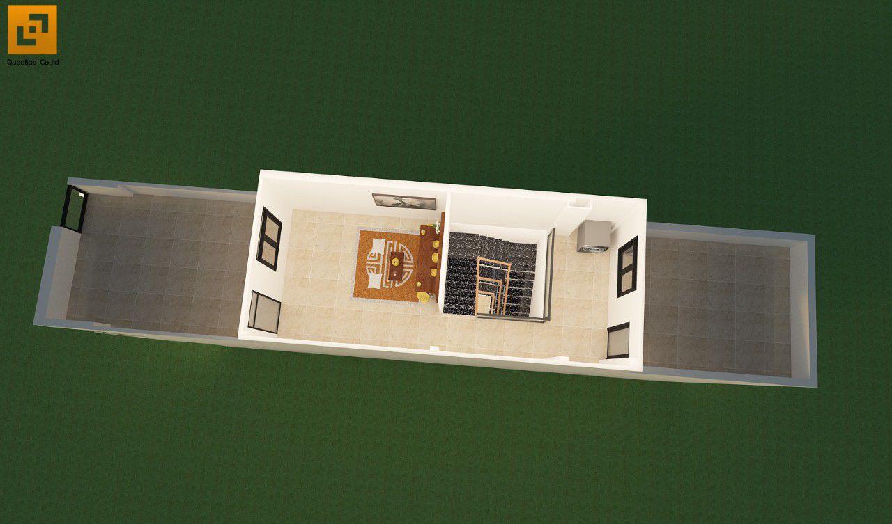 Thiết kế mặt bằng tầng áp mái nhà phố gia đình anh Châu tại Biên Hòa