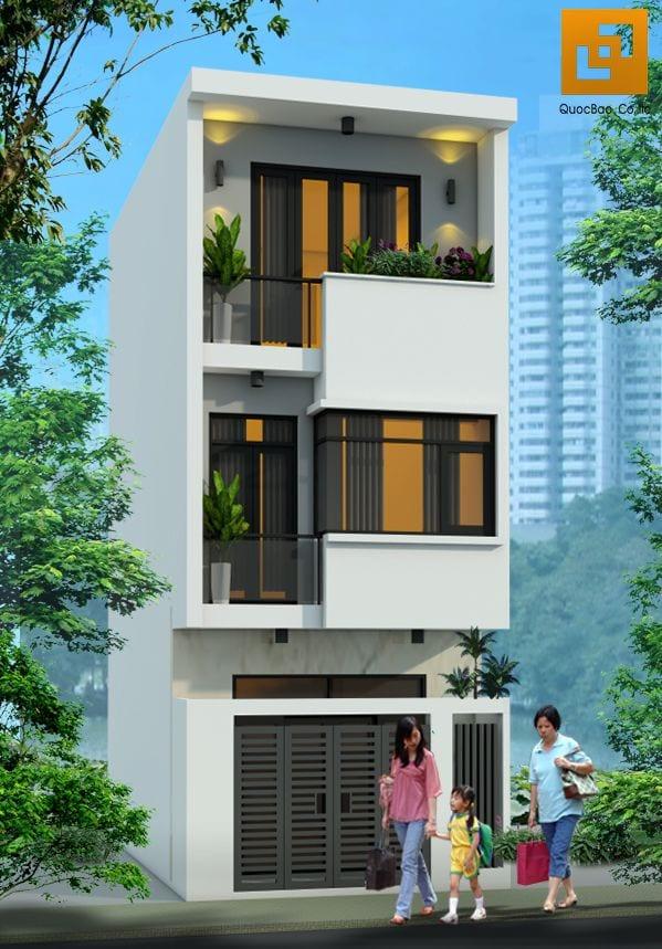 Thiết kế nhà ống 3 tầng mái bằng tại Hố Nai Biên Hòa