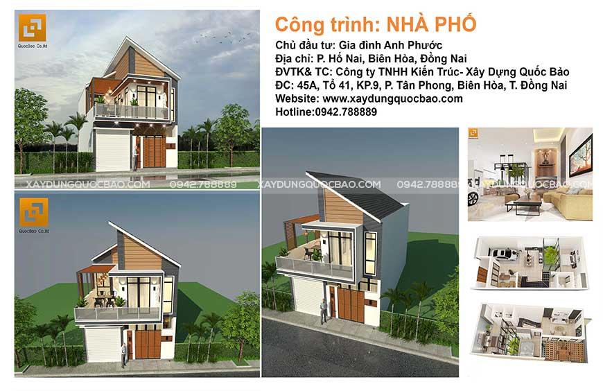 Thiết kế nhà phố hiện đại gia đình anh Phước tại Hố Nai - Biên Hòa - Đồng Nai