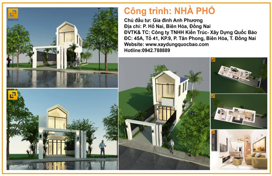 Thiết kế nhà phố đẹp gia đình anh Phương – Biên Hòa - Đồng Nai