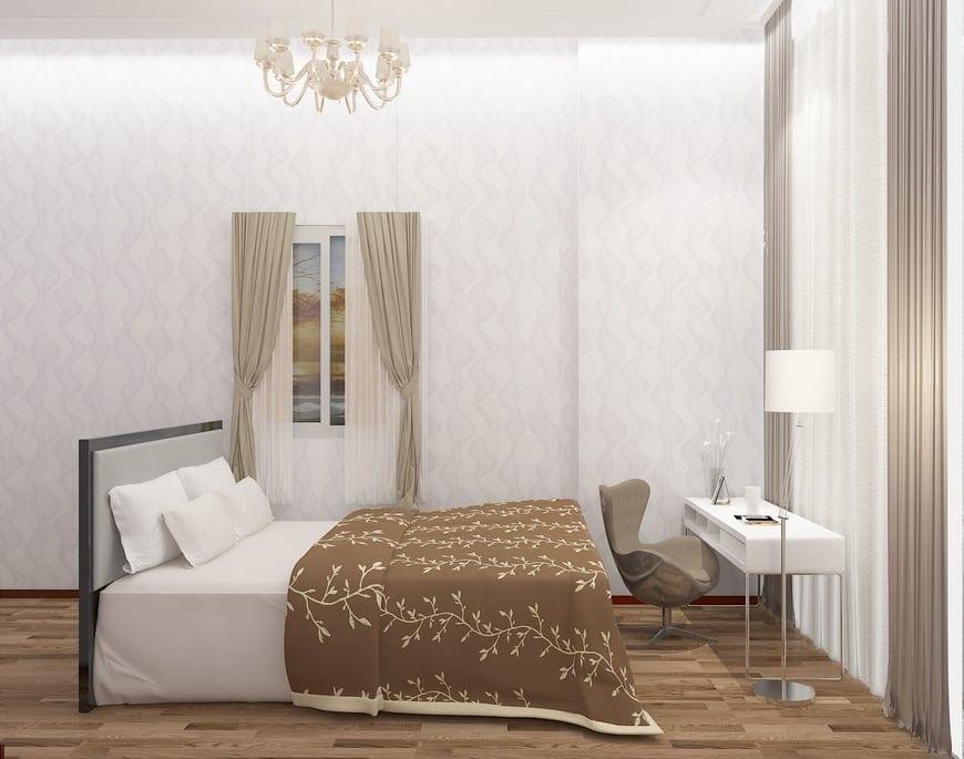 Phòng ngủ được bố trí thêm bàn đọc sách trong phòng