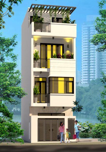 Phối cảnh tổng thể nhà phố hiện đại 4 tầng gia đình anh Quý