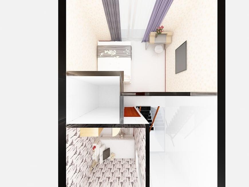 Phòng của bố mẹ trẻ được thiết kế ngay cạnh phòng của bé