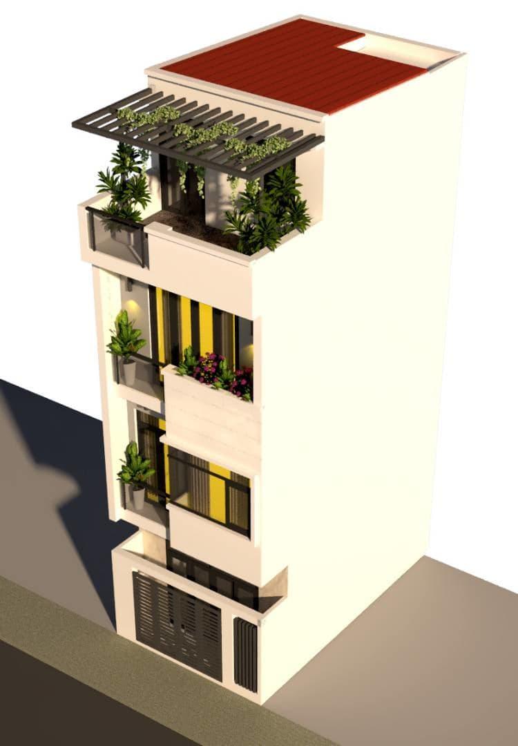 Mặt tiền nhà phố hiện đại 4 tầng gia đình anh Quý