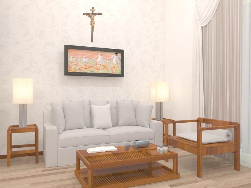 Góc nghỉ ngơi thưởng trà bố trí kết hợp bộ ghế sofa và ghế gỗ