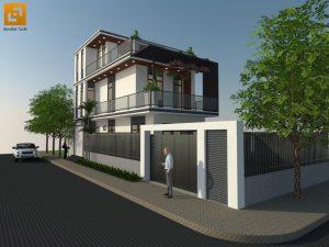 Thiết kế nhà phố hiện đại anh Hậu tại Trảng Bom - Đồng Nai