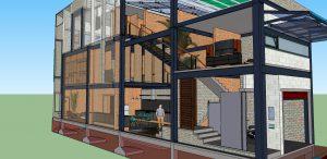 Thiết kế nhà phố kết cấu thép gia đình chị Quỳnh Chi ở Biên Hòa - Đồng Nai