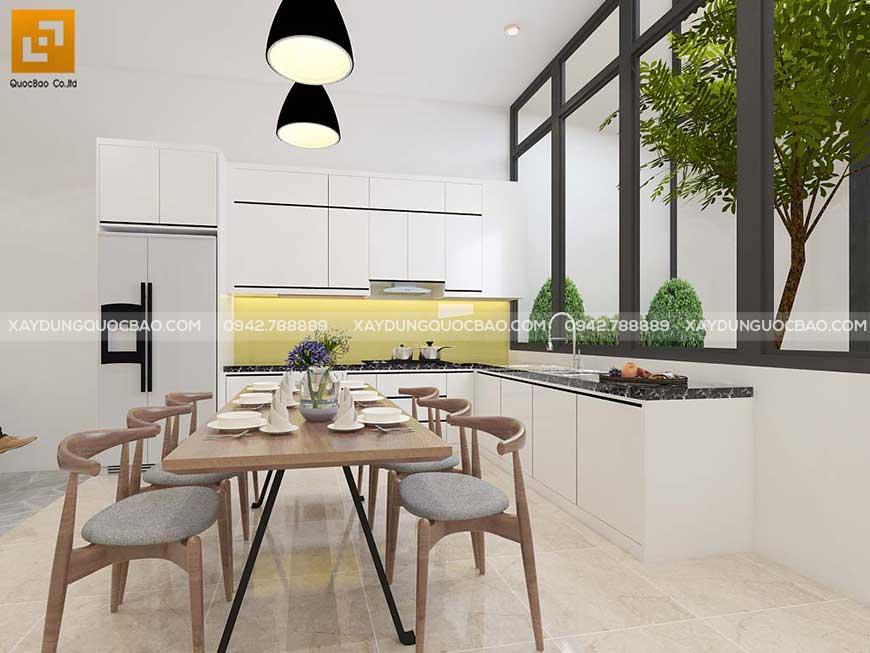Phòng khách thiết kế thông với nhà bếp và phòng ăn tạo sự tiện lợi cho sinh hoạt trong nhà