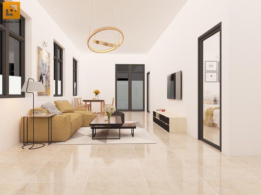 Phòng khách rộng rãi, hiện đại, phối màu với gam tươi sáng