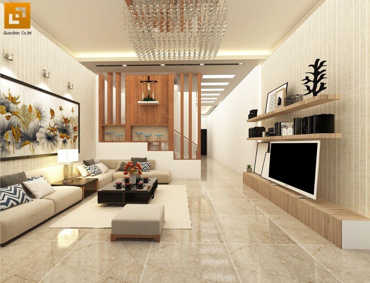 Phòng khách bố trí nhiều ghế sofa để tối ưu không gian đón tiếp khách quý