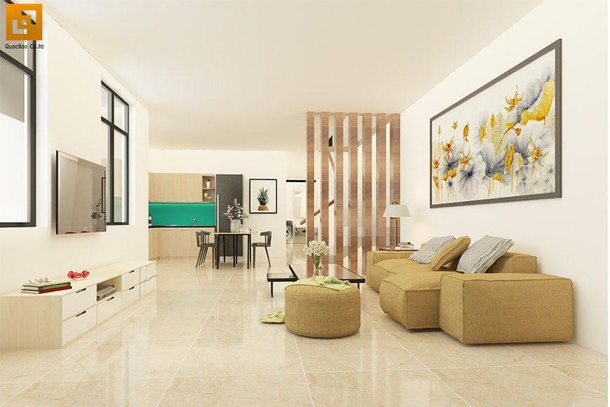 Thiết kế phòng khách nhà phố anh Hoàng tại Nhơn Trạch Đồng Nai