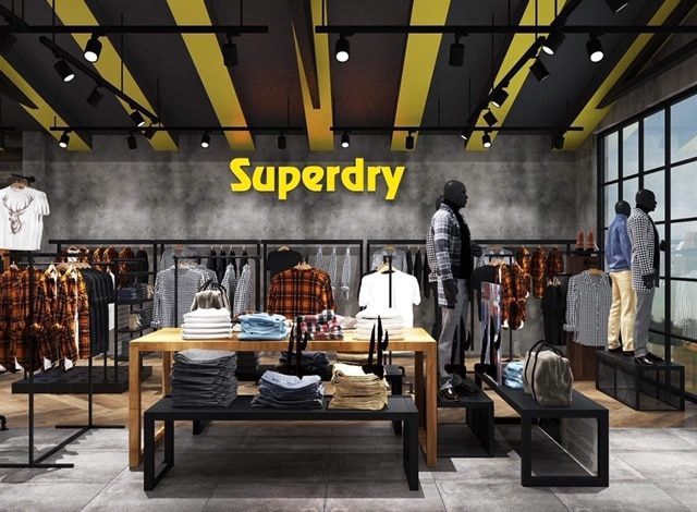 Quầy trưng bày quần jeans nam, giày thể thao, balo adidas