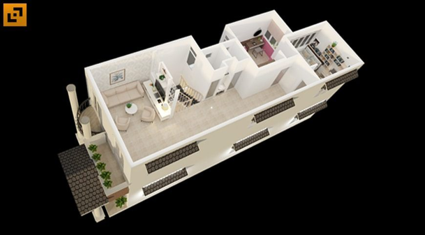 Bố trí công năng tầng 2 gồm phòng thờ, phòng đọc sách, phòng cho bé nam và bé nữ tách biệt và 2 phòng vệ sinh