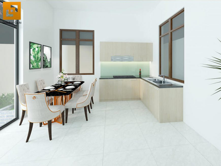 Thiết kế phòng ăn và phòng bếp Biệt thự nhà vườn tại Trảng Bom