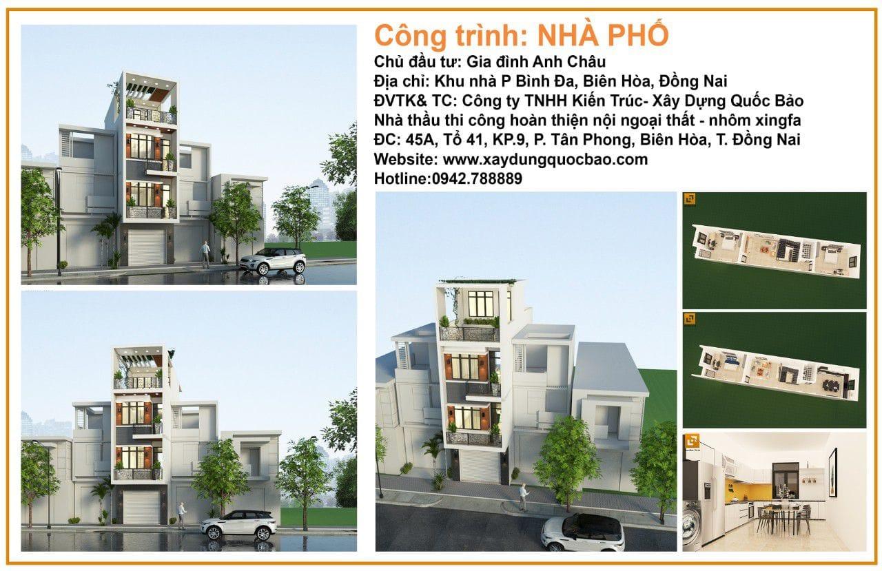Công trình nhà phố 3 tầng 1 tum gia đình anh Châu tại Biên Hòa