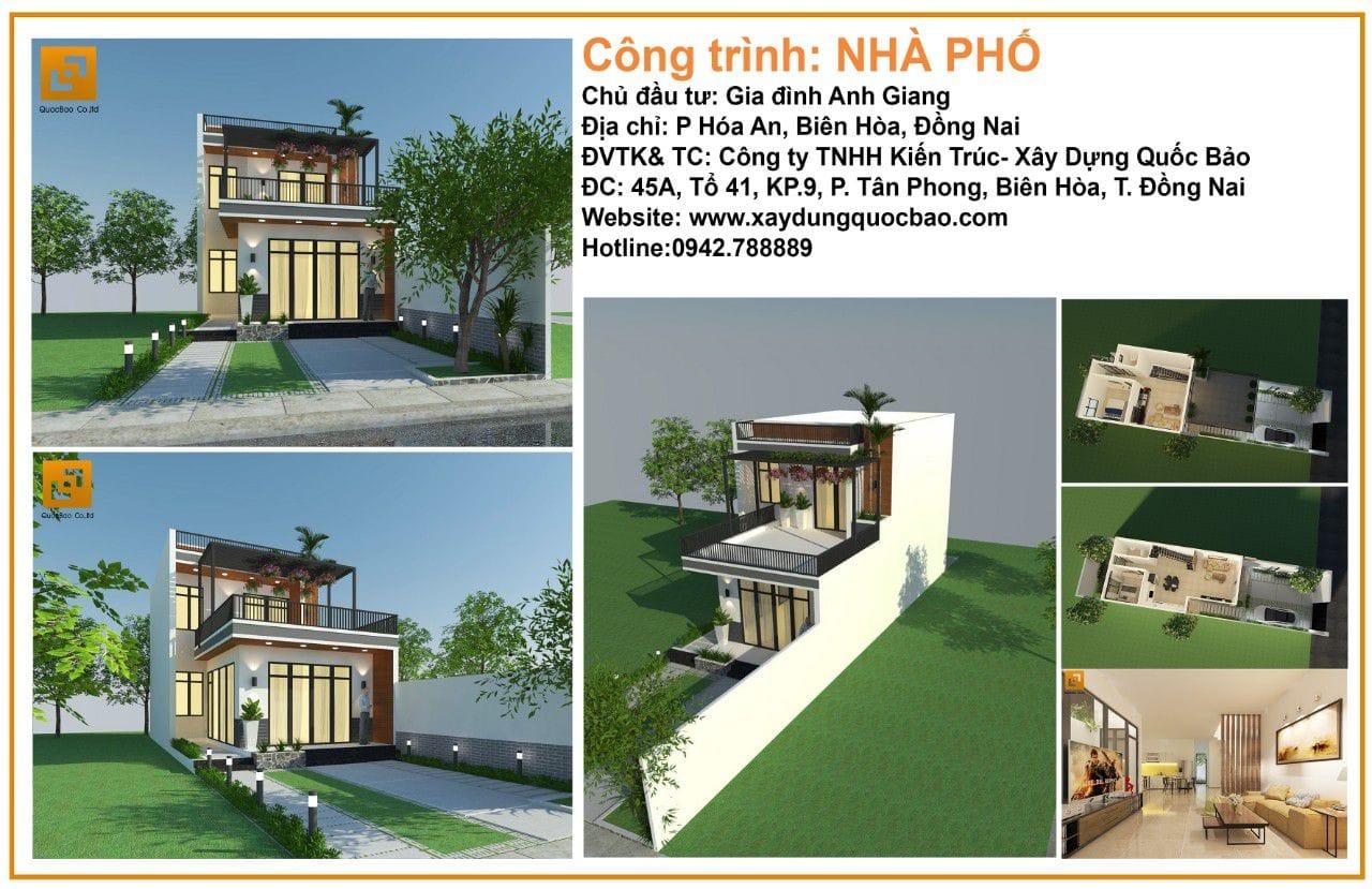 Thiết kế thi công nhà phố gia đình anh Giang - Biên Hòa