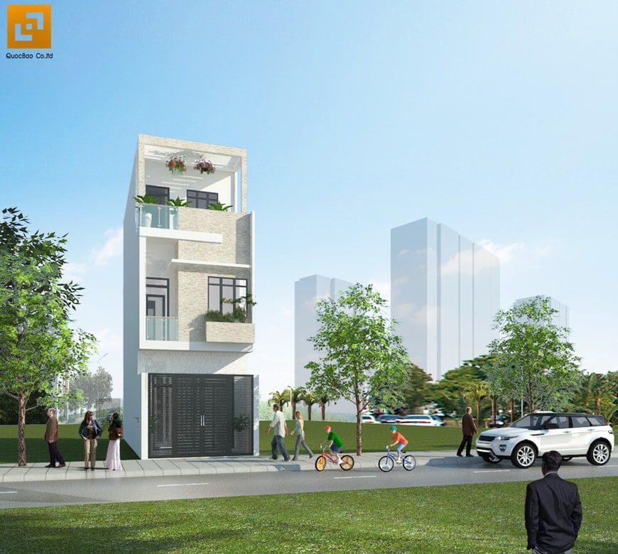 Thiết kế nhà phố hiện đại anh Hùng - P. An Bình- Tp. Biên Hòa