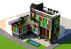 Phối cảnh tổng thể trường mầm non Cầu Vồng - Tam Hiệp - Biên Hòa - Đồng Nai