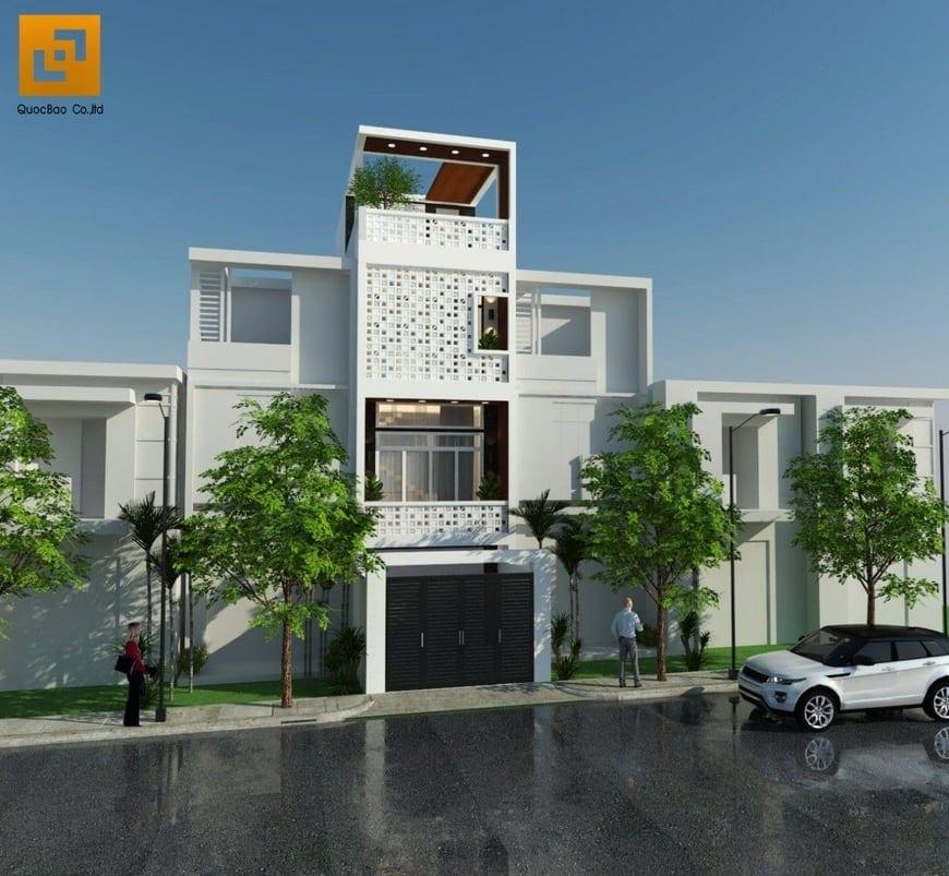 Mẫu nhà phố đẹp 1 trệt, 2 lầu, 1 tum thiết kế độc đáo tại huyện Nhơn Trạch