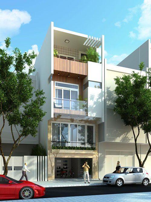 Mẫu nhà ống 4 tầng mái bằng dùng nhiều cửa kính lấy sáng, ban công nhiều mảng xanh