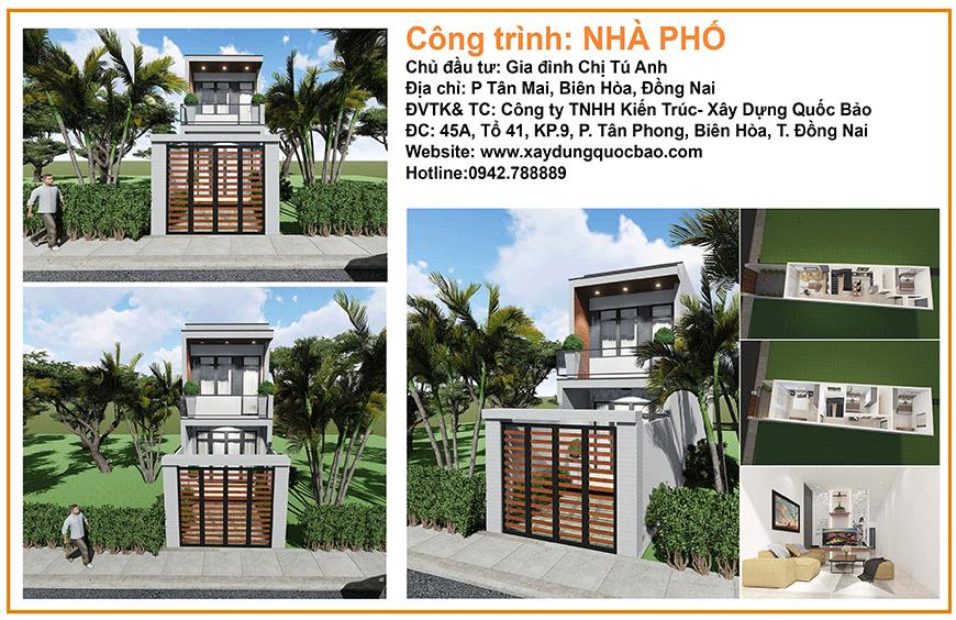 Công trình nhà phố 2 tầng hiện đại của chị Tú Anh - Biên Hòa