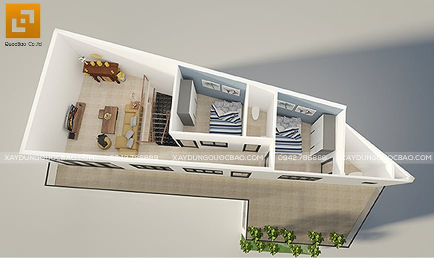 Thiết kế mặt bằng công năng các phòng của lầu 1