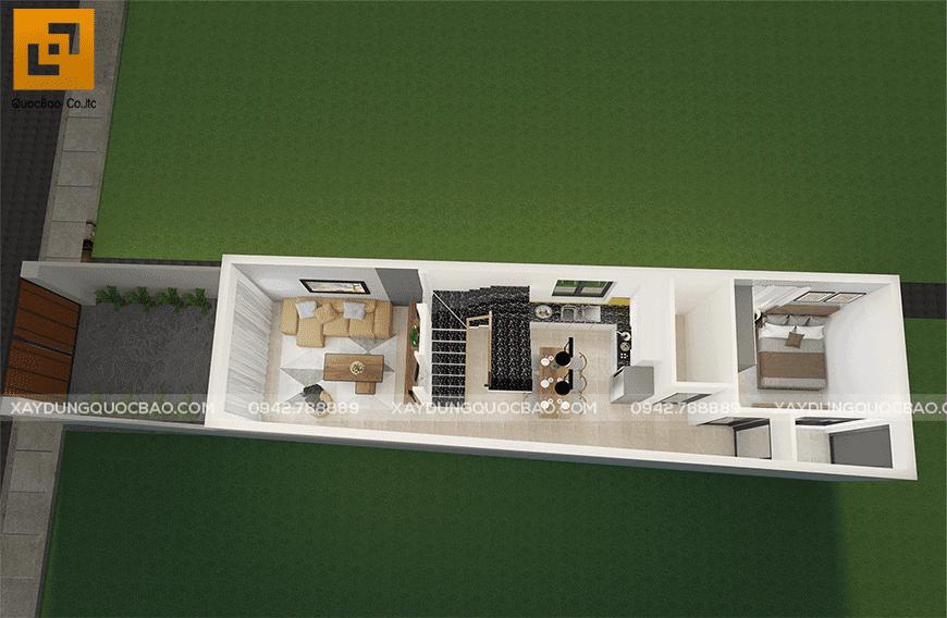 Mặt bằng công năng tầng trệt nhà phố 2 tầng