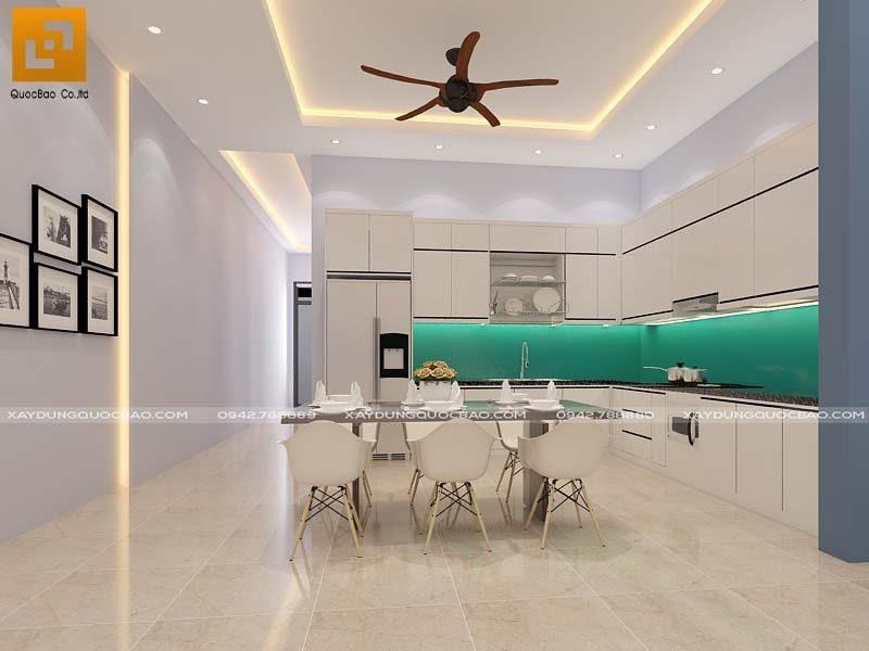 Phòng ăn nhà phố Tân cổ điển gam màu ấm áp