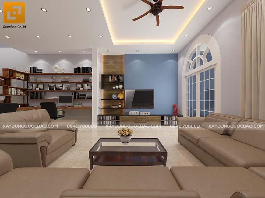 Phòng khách kết hợp với phòng làm việc
