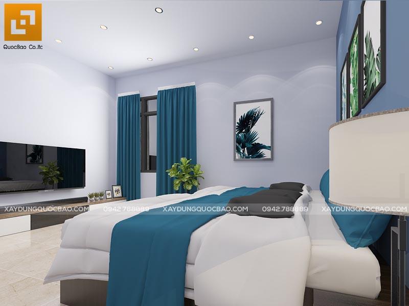 Phòng ngủ của bố mẹ phối màu nhẹ nhàng tạo cảm giác thoải mái
