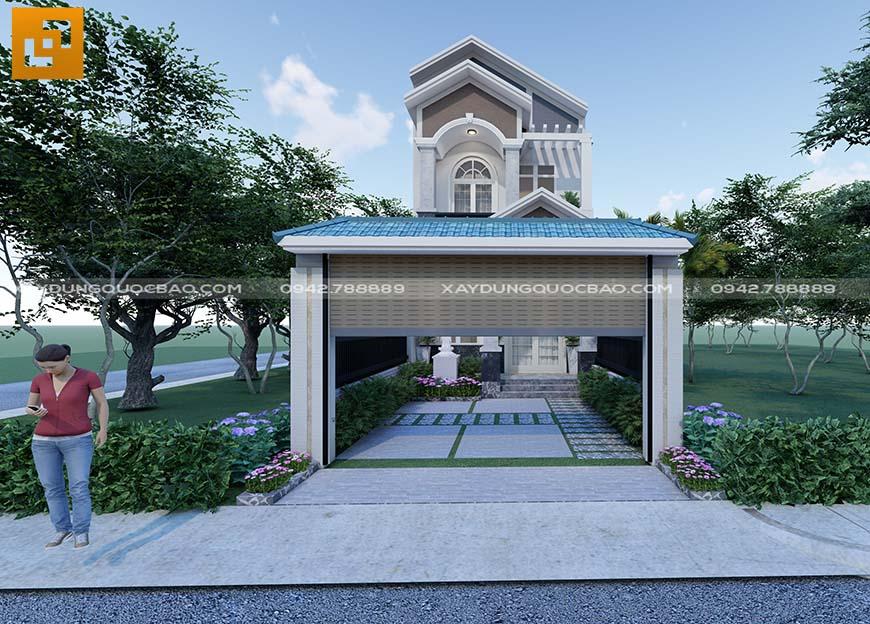 Cổng nhà đẹp, mạnh khỏe, sử dụng cửa cuốn nhằm tăng diện tích sân trước