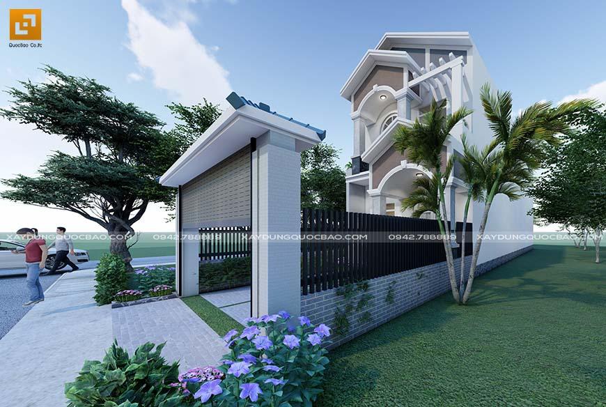 Tường rào thiết kế đơn giản nhưng vẫn mang giá trị thẩm mỹ