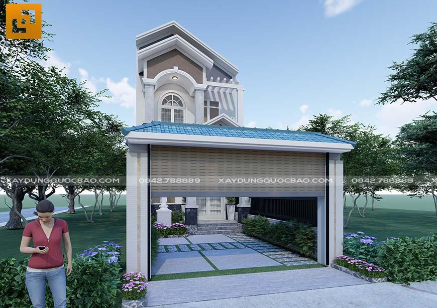 Với diện tích xây dựng 121m2, anh Minh thiết kế khu đất thêm khoảng sân trước và sau nhà