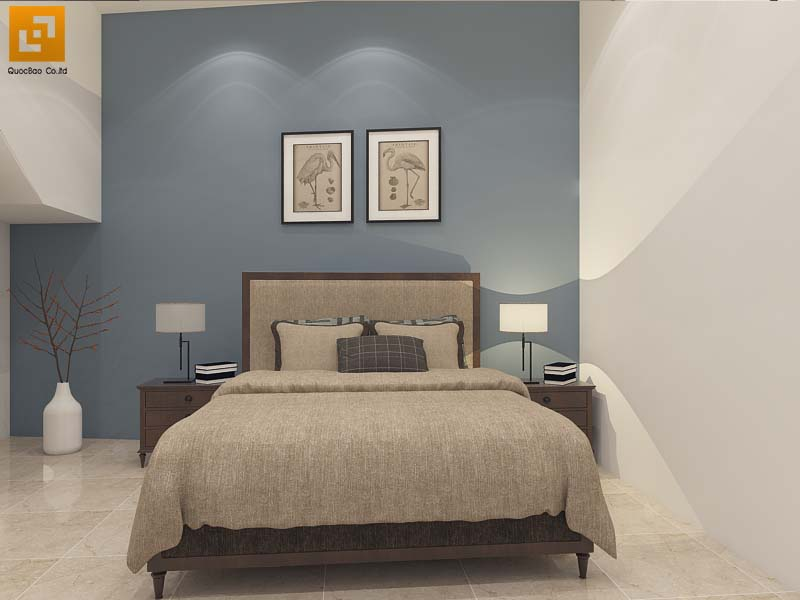Phòng ngủ sử dụng gam màu trung tính khá dễ chịu