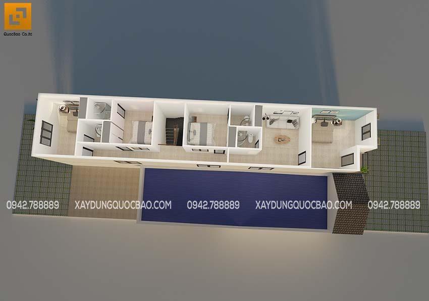 Bố trí mặt bằng công năng lầu 1 nhà song lập tại Trảng Bom